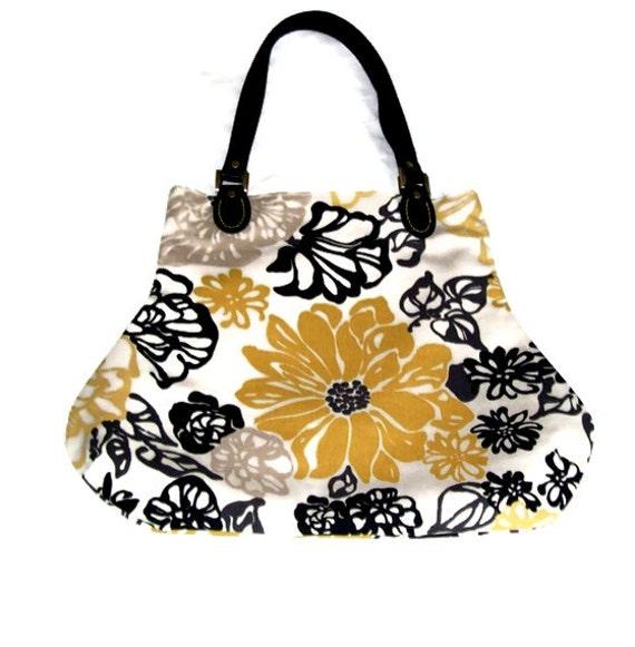 Black and Golden Mustard Floral Fabric Fat Bottom Bag Handbag Purse