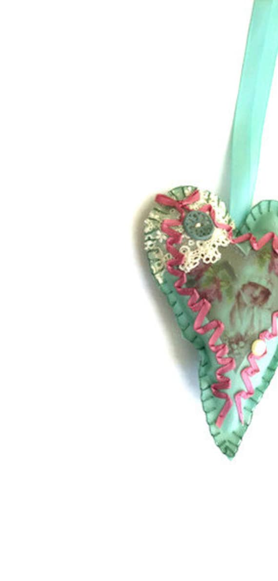 Seafoam Green Victorian Girl Heart Sachet