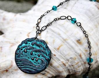 Dark Waves Necklace - Gunmetal black stormy seas pendant with blue-green patina - blue zircon Swarovski crystal accents - free shipping USA