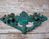 2 Brass Drawer Pulls Vintage Style Pictured in Turquoise Blue You Choose B-11