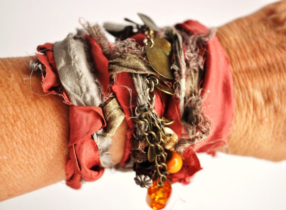 Bohemian Steampunk Wrapped Bracelet, Ribbon Cuff, Autumn & Grey, Brass Glass Beads, OOAK, Recycled Jewelry