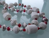 Red and light grey necklace