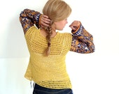 crochet cardigan with scarf sleeves - cotton / linen, maize yellow, navy blue - bohemian vintage fabric - size M - women clothing