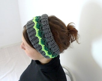 Crochet Cowl, Neck Warmer, Headband, Neck Scarf, Ethnic Cowl, Wool Cowl, Winter Accessories - Gray, Grey, Neon Green Lace Trim Beaded