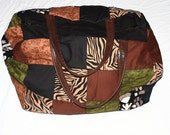 Handmade Animal Print Quilted Bag Tote Original Extra Large Overnight Bag Suitcase