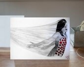 ON SALE - Shadow Girl original amazing realistic beautiful black red white drawing