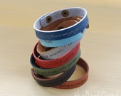 """Your favorite quote --- custom engraved 1/2"""" leather bracelet"""