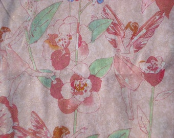 "SALE : Alexander Henry ""Pixie"" fabric 2003 pink with glitter FQ or more"