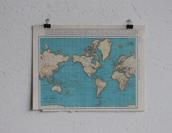 RESERVED-Vintage Map-The World-Early 20th Century