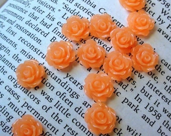 Peach Resin Flower Cabochon 10mm
