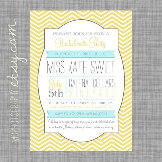 Bachelorette or Bridal Shower Modern Invite - Yellow Chevron with Grey - DIGITAL FILE
