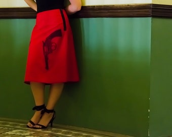 Red A-Line Skirt with Black Pistol Silk Screen Guns
