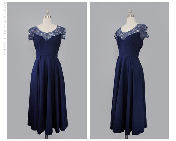 1950's vintage lace dress. 50's blue dress. navy. cotton sweetheart. small. long full dress 50.
