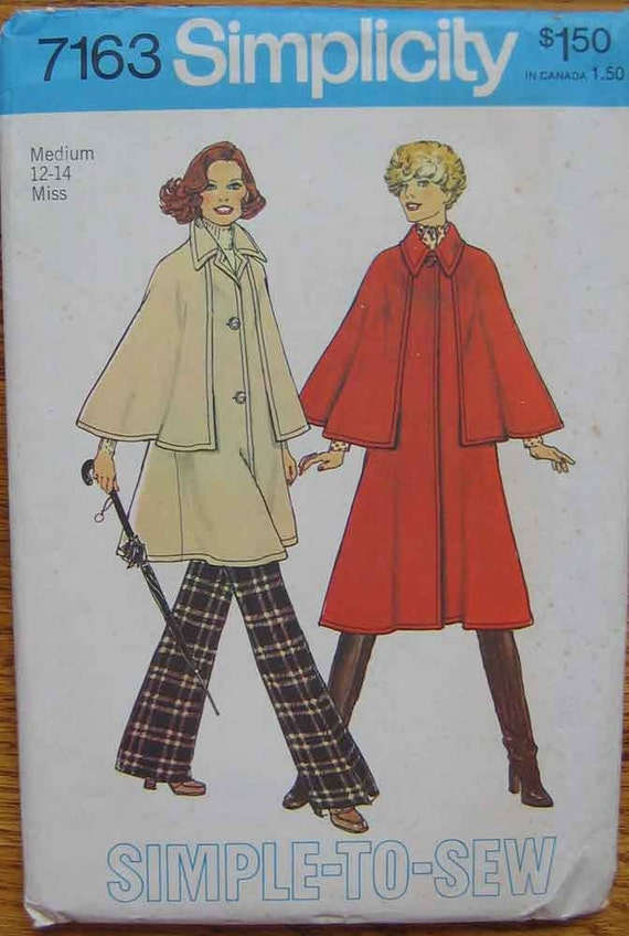 Vintage 70's Misses' Mod Coat with Capelet in 2 Lengths, Simplicity 7163 Pattern Size Medium 12-14
