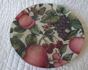 Glass Serving Decorative Plate Covered With a Butterfly and Fruit Print Fabric