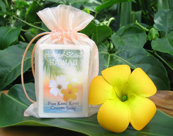 PUAKENIKENI SOAP with Coconut Oil, Mango Butter and Glycerin. 4 oz. Made in Hawaii.