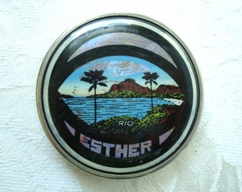 1940s Butterfly Wing Compact with Rio Palm Trees Scene Esther