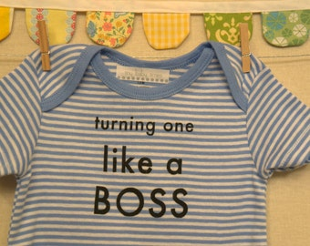 turning one like a boss --- blue striped onesie, size 12 months