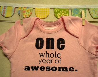 one whole year of awesome --- pink bodysuit, size 12 months