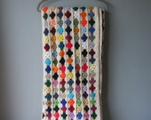 Colorful Woven Crochet Blanket Eyelet Flowers 1970 1980 Well Made