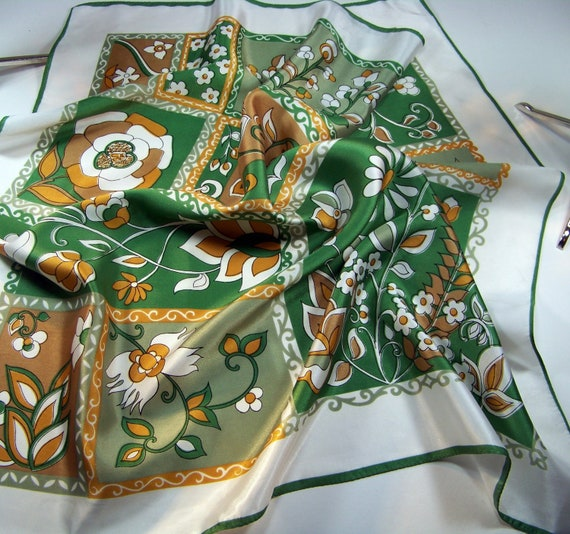 Vintage Scarf 26 inches square Olive Green Gold White 1970s Unique
