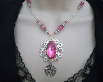Pink Pentacle Necklace, wiccan jewelry pagan jewelry wicca jewelry metaphysical goddess witch witchcraft pentagram magic handfasting