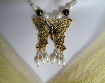 Butterfly Necklace, art nouveau jewelry victorian jewelry art deco jewelry renaissance edwardian medieval neo victorian