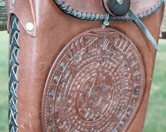Leather Purse Vintage Tooled Handbag -- FREE SHIPPING- Sale