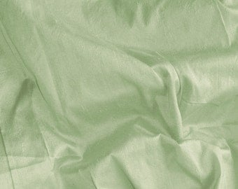 dupioni silk fabric - willow green 100% pure silk - fat quarter - sld091