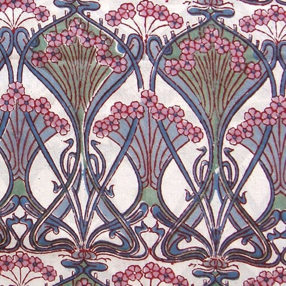 hand printed cotton fabric -  blue pink green floral print on off white - 3 yards - ctjp068 - reserved for susanna