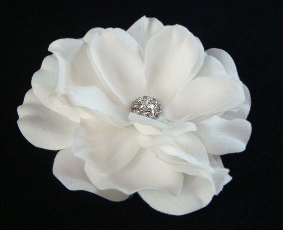 Bridal WHITE FLOWER with rhinestone center  PETITE / pure white hair flower clip / bridal white hair flower
