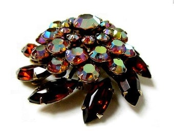 "Domed Rhinestone Brooch Vintage Brown Gold AB Stones 1 3/4"" Pin"