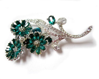 Vintage Large Green Rhinestone Flowers Brooch Pin 2 3/8""