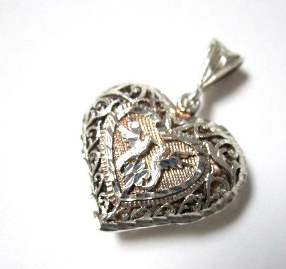RESERVED Maxx - Vintage Sterling Silver Puffy Heart Hummingbirds Scroll Pendant