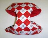 Red Argyle Comfort Soft Dog Harness, - Made to Order -