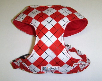 Red Argyle Comfort Soft Dog Harness, - Made to Order -