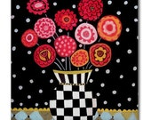 Kitchen Tile  Flower Tile  Harlequin Art  Black and White Vase Tile   Red, Pink Flowers