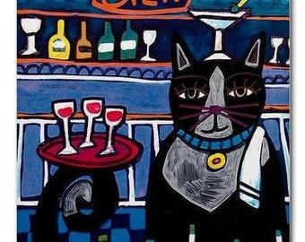 65% Off- Tuxedo Cat Folk Art Bartender Print on Ceramic Tile Folk Art Colorful Unique Gift  Harlequin