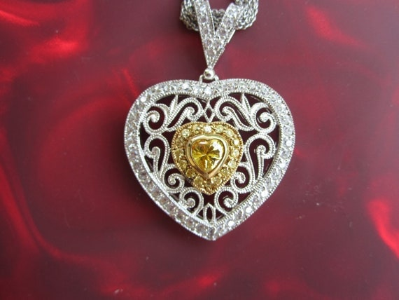 Sterling Silver Heart Pendant & Multi strand Chain Necklace Yellow stone