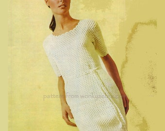 Vintage Crochet Granny Sheath Dress Pattern PDF 420 from WonkyZebra
