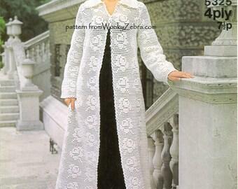 Vintage Crochet Pattern PDF 429 White Rose Coat from WonkyZebra