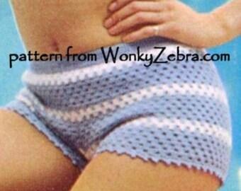 Crochet HotPants Pattern Vintage PDF 045 SunTop and HotPants from WonkyZebra