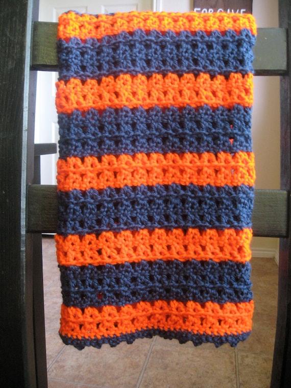 War Eagle Crochet Auburn Baby Blanket in Dark Blue and Orange