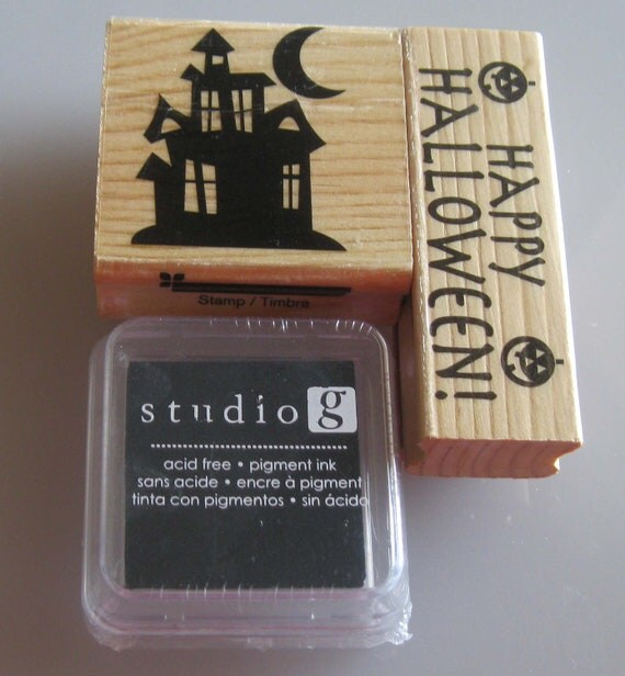 2 Haunted House/ Happy Halloween Rubber Stamps With Ink