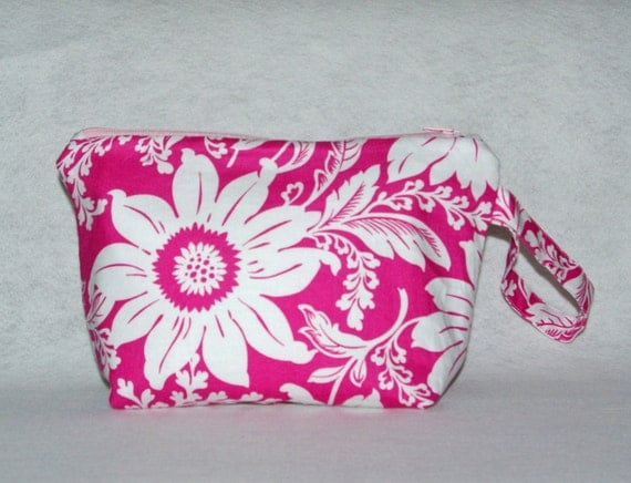 Beautiful Pink Wristlet, Pretty Custom, Cosmetic Bag, With Dahlia, Floral Small Bag, No Shipping Fee, Ready To Ship TODAY, AGFT 675