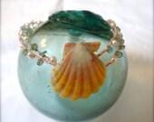 Double Stranded Emerald Sunrise Shell Bracelet