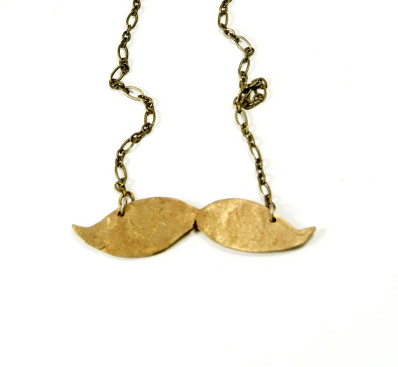 SALE Bronze Mustache Necklace