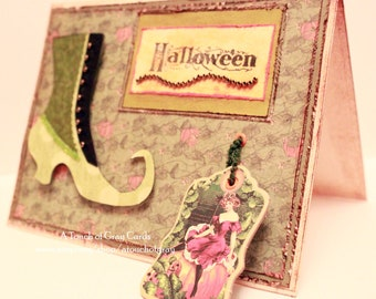 Halloween Card - Into the Pumpkin Patch I Go  - Witch Boot Handmade Vintage Inspired Halloween Greeting Card
