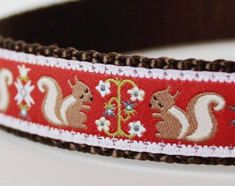 Pet Squirrel Dog Collar, Adjustable Dog Collar, Ribbon Dog Collar