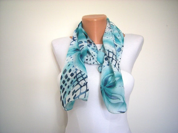 Turquoise,Aqua Blue Dotted Pattern Chiffon Scarf for Spring and Summer Fashion